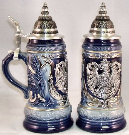 Pewter Eagle Crest Le Blue German Beer Stein Authentic